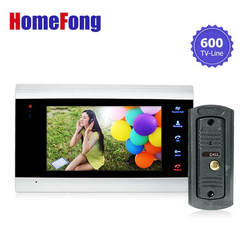 Купить монитор получить дверной звонок бесплатная YSECU 7 дюймов цветной жк-видео-телефон двери домофон открывание двери разблокировать