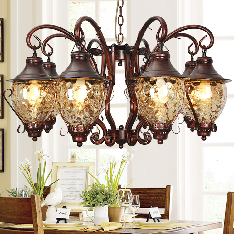 купить Modern Antique Style Chandeliers dining room lighting Retro Glass Chandelier Hanging Led Lamp Vintage Iron Chandelier Ceiling недорого