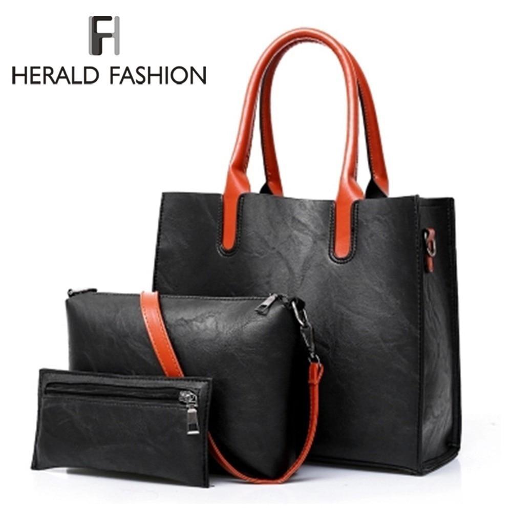US $20.59 40% OFF Herald modny zestaw 3 szt. Skórzane torebki damskie pojemna torba tote Bag damska torba na ramię torebka + torba + torebka Sac w