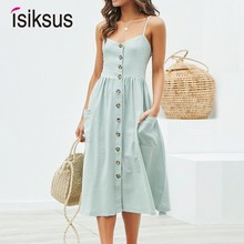 Isiksus Casual Summer Dress Women Beach Cotton Linen Elegant Yellow Button Ladies Dresses For DR198