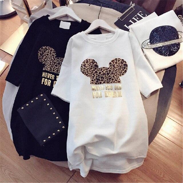 Minnie Mickey Mouse Women Cartoon Plus Size Dresses Short Sleeve Black White Casual Mini Fashion Loose Summer Dress Leopard 2019
