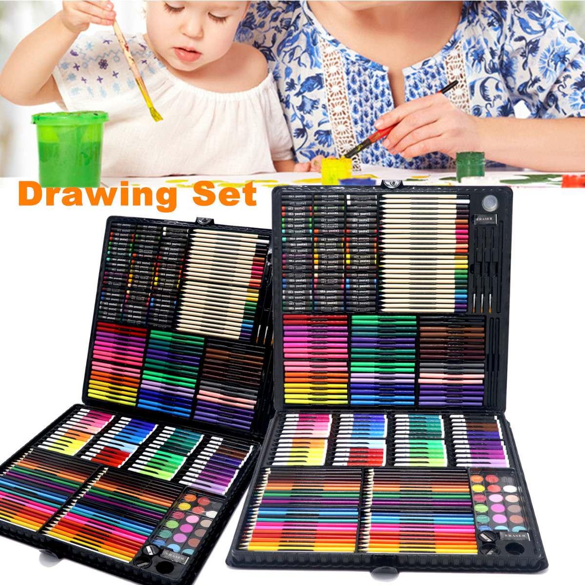 258 pièces professionnel peinture dessin stylo Art ensemble esquisse couleur crayon Pastel gomme peinture boîte cadeau d'anniversaire - 2