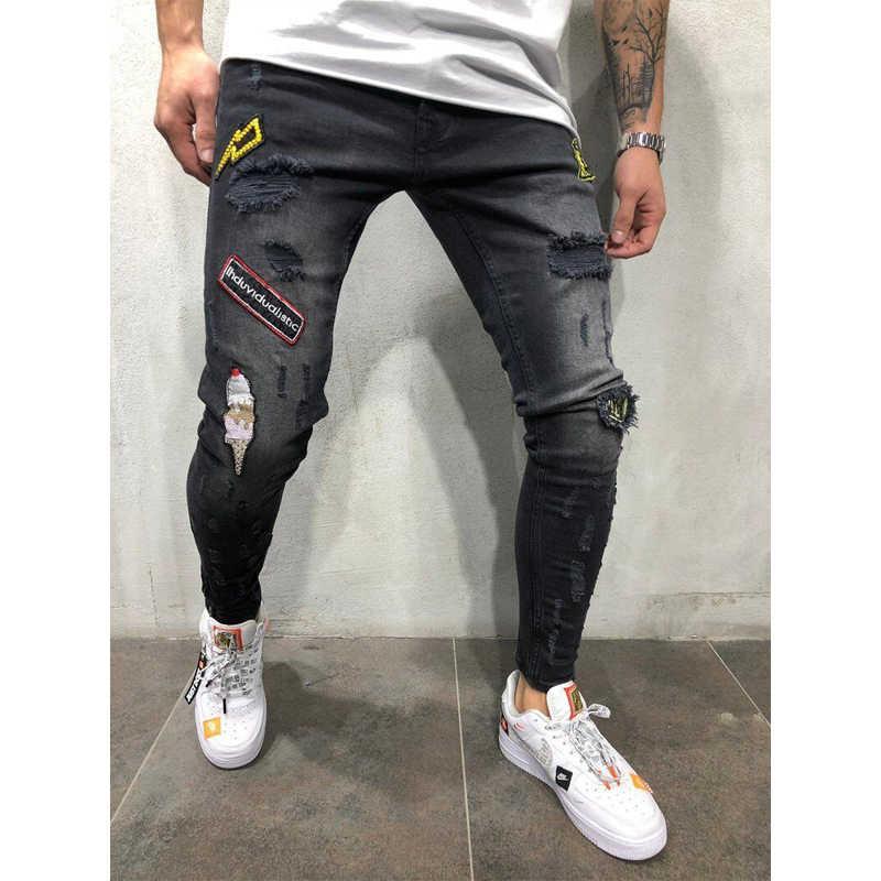 3 สไตล์ BIKER Skinny กางเกงยีนส์ทำลาย Frayed พิมพ์เย็บปักถักร้อย SLIM FIT DENIM กางเกง Jean