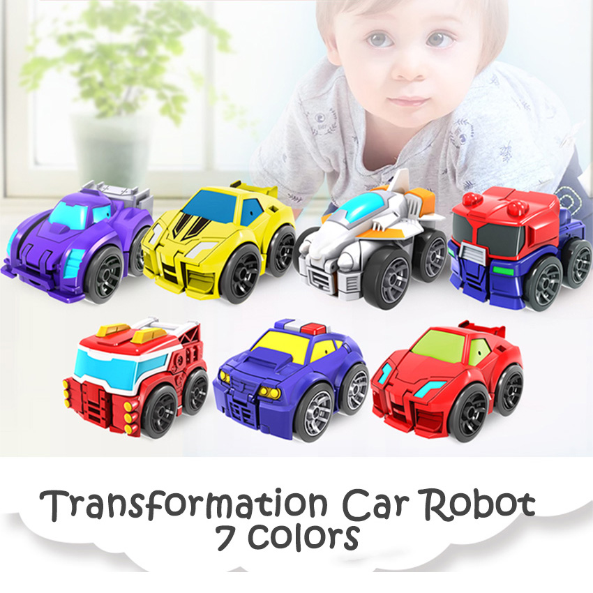 So Cute Transformation Deformation Robot Truck Racing Car Model Vehicle Mini Free-Wheel Toys Lovely Gift For Chirldren Boys Girl