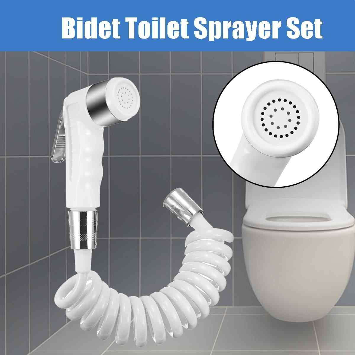 Wit Abs Handheld Draagbare Bidet Wc Nozzle Spuit Set Badkamer Bidet Head Nozzle Met 1.5M Elastische Doucheslang