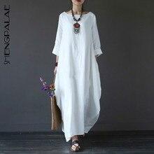 Plus Dresses Maxi-Robe Long-Sleeve White Boho Large-Size Women O-Neck New Autumn Loose