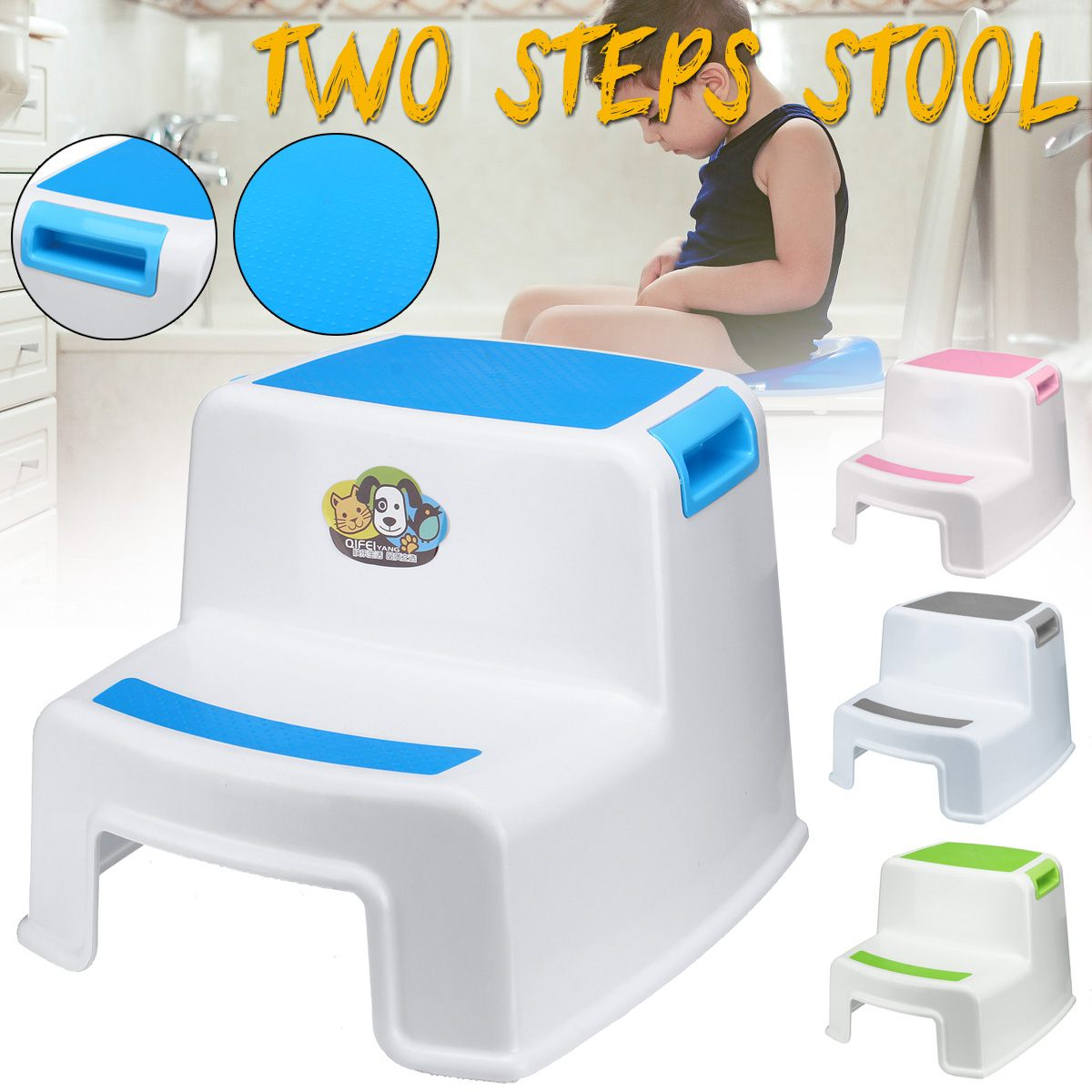 2 Steps Double Stool Plastic 280 lbs for Kids Anti-Slip Child Ladder New Children's Non-slip Feet Increase Bathroom Toilet Stool