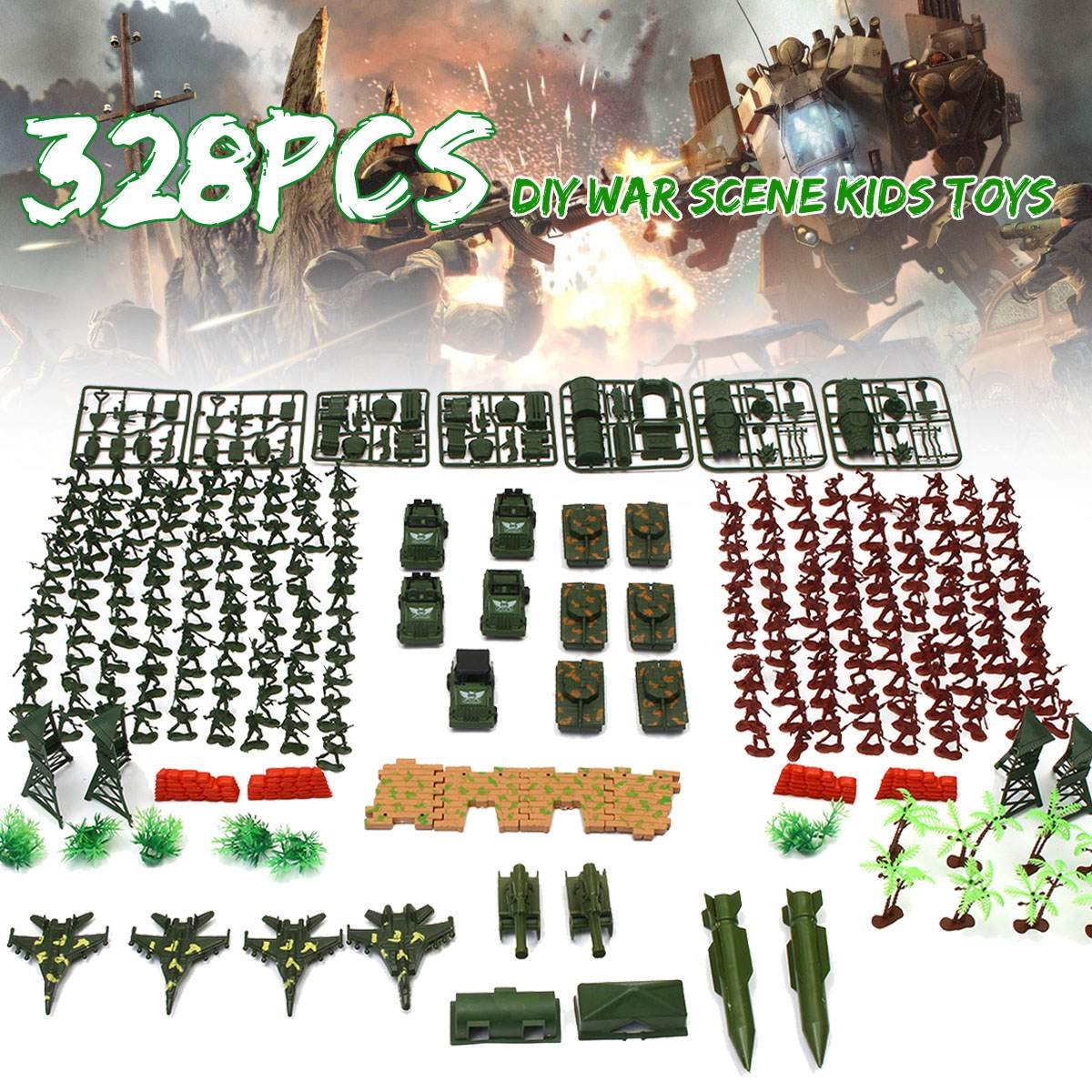 328Pcs 4cm Soldier Model Sandbox Game Military Plastic Toy Soldier Army Men Playset Kit Gift Model Toy For Kids Boys