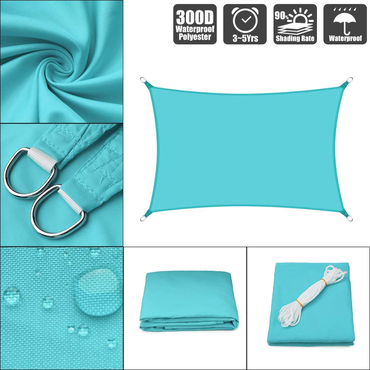 2x3 2x4 2x5 2.5x3 3x4 3x5 3x6 Sky Blue 300D 160GSM Polyester Oxford Fabric Shade Sail Sun Outdoor Rectangle2x3 2x4 2x5 2.5x3 3x4 3x5 3x6 Sky Blue 300D 160GSM Polyester Oxford Fabric Shade Sail Sun Outdoor Rectangle