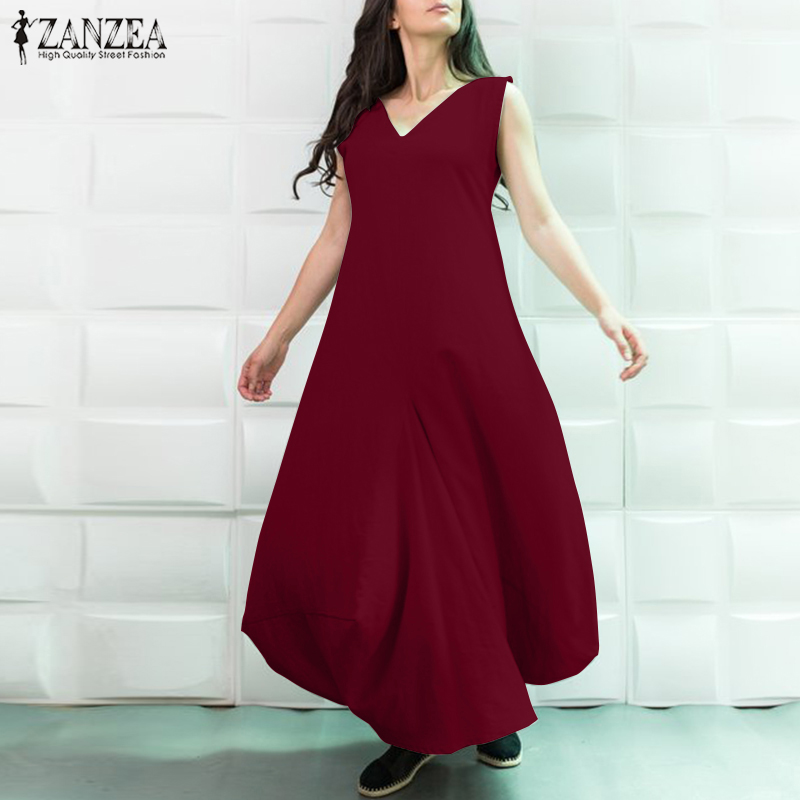 Elegant V Neck Party Dresses 2019 Women's Sundress Plus Size Maxi Dress ZANZEA Female Sleeveless Baggy Vestidos Robe Oversized