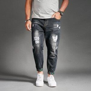 Image 4 - Ripped Jeans For Men Blue Black Denim Mens Jean Homme Harem Hip Hop Plus Size Trousers 44 46 48 Mens Uomo Fashions Jogger Pants