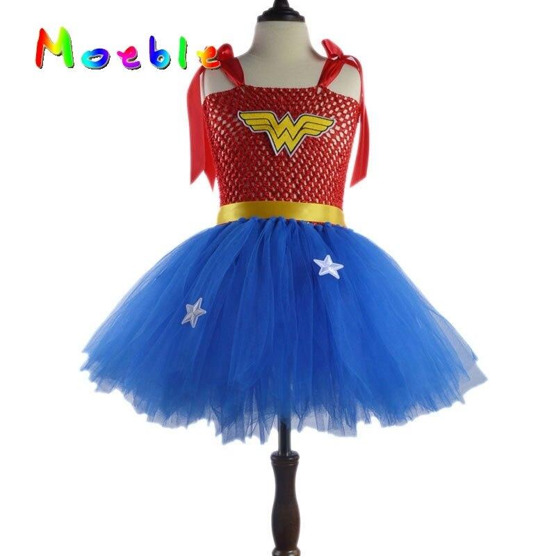 Halloween Kleider Fur Kinder.Superhero Wonder Frau Madchen Tutu Kleid Kinder Cosplay Kostum Weihnachten Halloween Kleid Up Tutu Kleider Baby Foto Requisiten