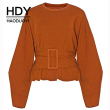 HDY Haoduoyi Personalized Raw Ribbed Neckline Waistband Loose Sweatshirt New Arrival Autumn Streetwear bishop sleeve ribbed sweatshirt