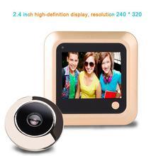2.4 polegada digital porta bel lwith câmera campainha lcd tela colorida 145 graus olho mágico câmera olho campainha da porta ao ar livre bel