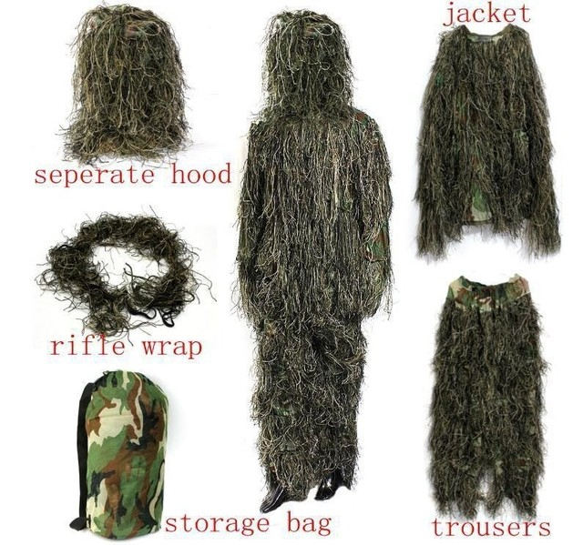 Outdoor Hunting Bird Watching Stealth Ghillie Clothes Suit Army Fan Field Camping Training Shooting Sniper Tactical Military Set 4
