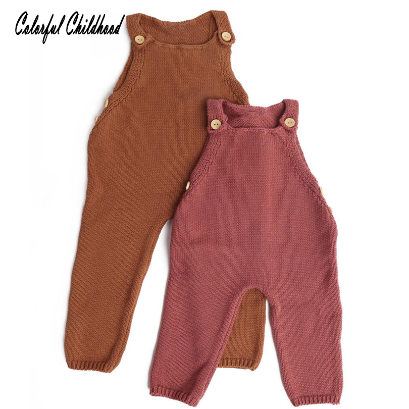 7de1fdb3a899 0-3T Baby knitted romper strap long trousers girls onesies warm winter  outwear Infant toddler jumpsuit adorable baby clothing