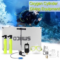500ml Diving System Mini Scuba Cylinder 6 in 1 Scuba Oxygen Reserve Air Tank Pump Aluminum Box Snorkeling Diving Equipment Set