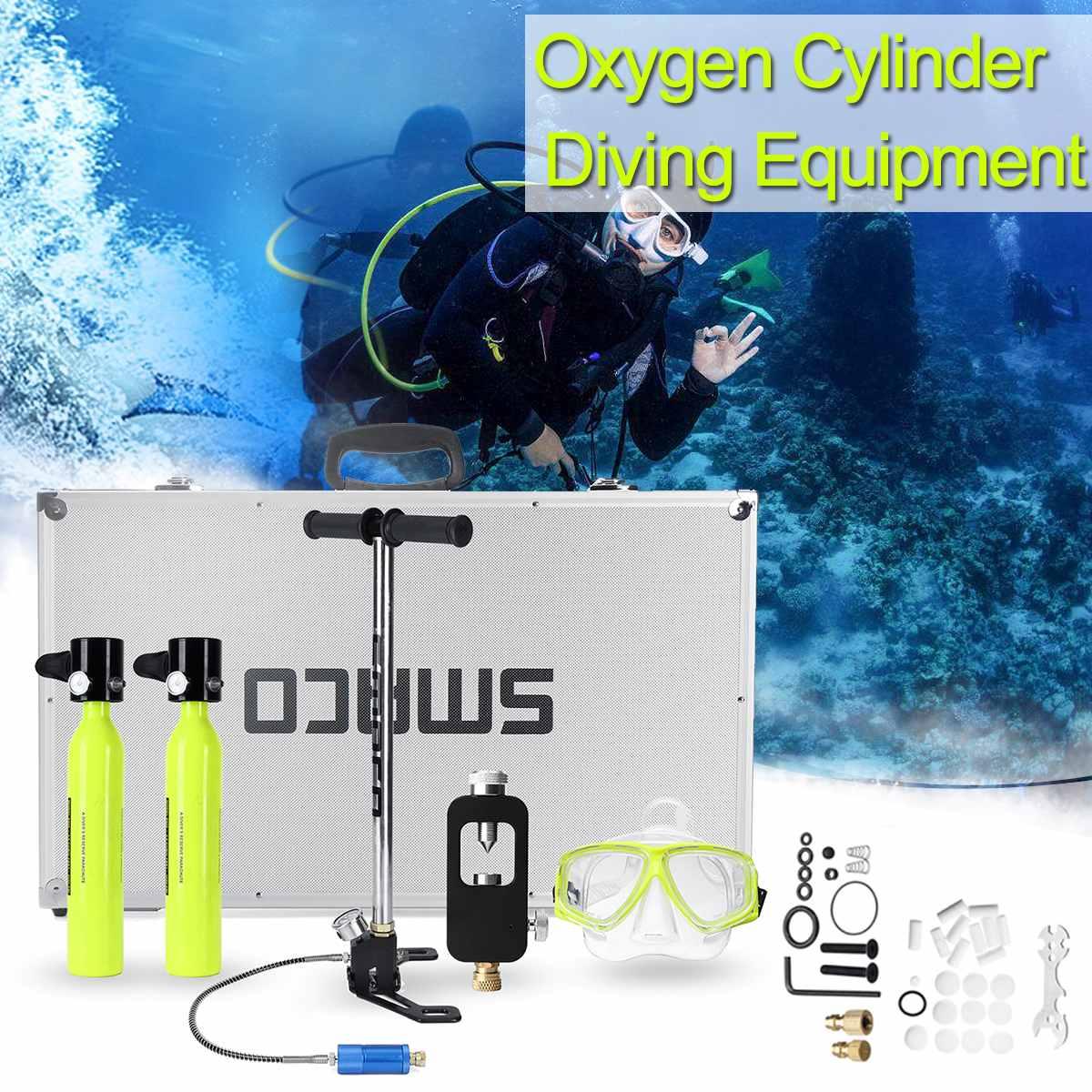 Système de plongée 500 ml Mini cylindre de plongée 6 en 1 réserve d'oxygène de plongée pompe de réservoir d'air boîte en aluminium équipement de plongée en apnée ensemble