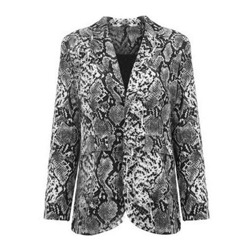 Trendy Women pocket turn-down collar Snake Skin Print Coat Long Sleeve Polyester Outwear one pieces