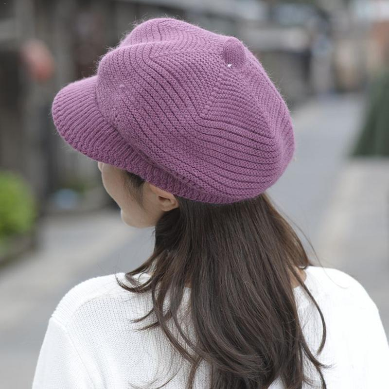 Women's Autumn Winter Rabbit Hair Knitted Hat Korea Style Warm Fashion Beret Knitted Hats 2019 New