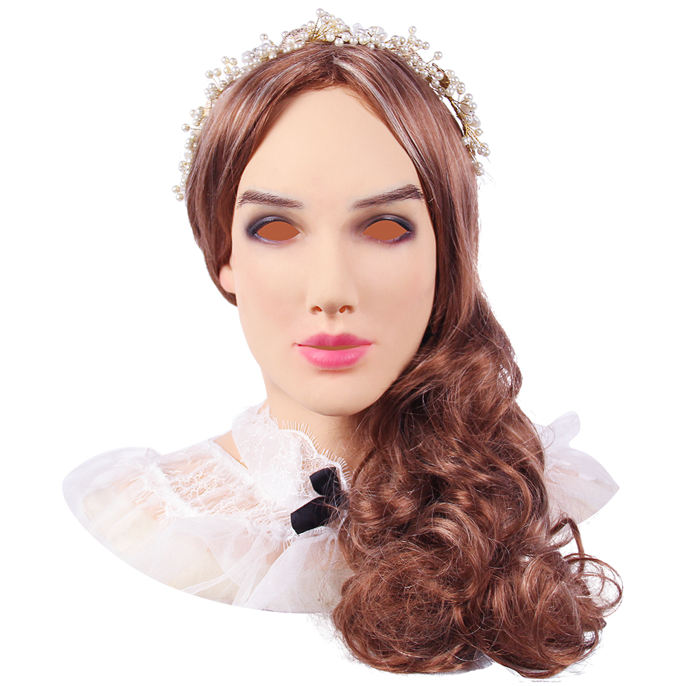 KOOMIHO Soft Silicone Realistic Female Head Crossdresser Mask Handmade Makeup Transgender Mask Halloween Cosplay Mask 3G