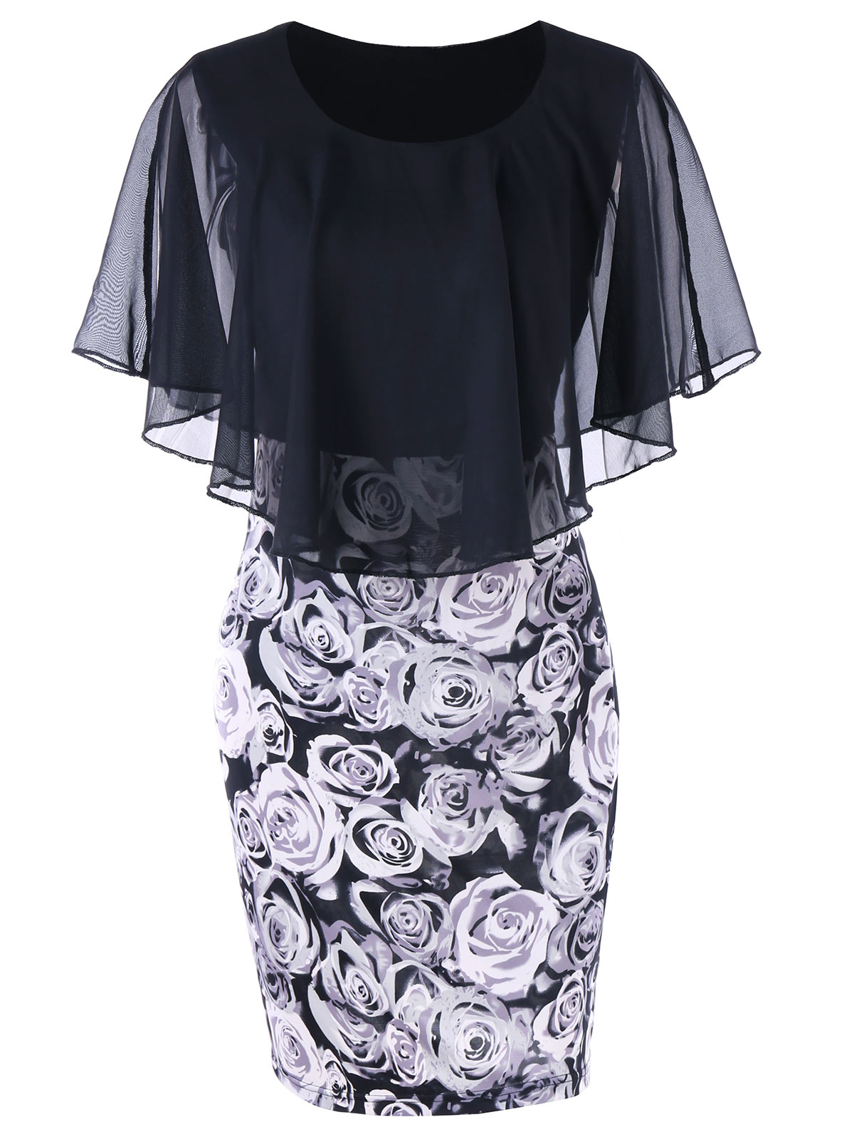 Gamiss Plus Size Dress Summer Rhinestone Embellished Glittery Scalloped Capelet Bodycon Dress Women OL Pencil Dresses Vestidos