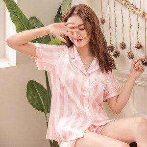 Image 3 - 2019 wiosna kobiety piżamy zestawy z szorty piżamy satynowe Pijamas w stylu Casual, w paski piżama Femme Silk Pijama Mujer Homewear