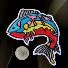 PGY 1 Piece New Arrival Big Colorful Fish Embroidered Patches Iron on Applique for Clothing DIY Clothes Coat Badges Accessories