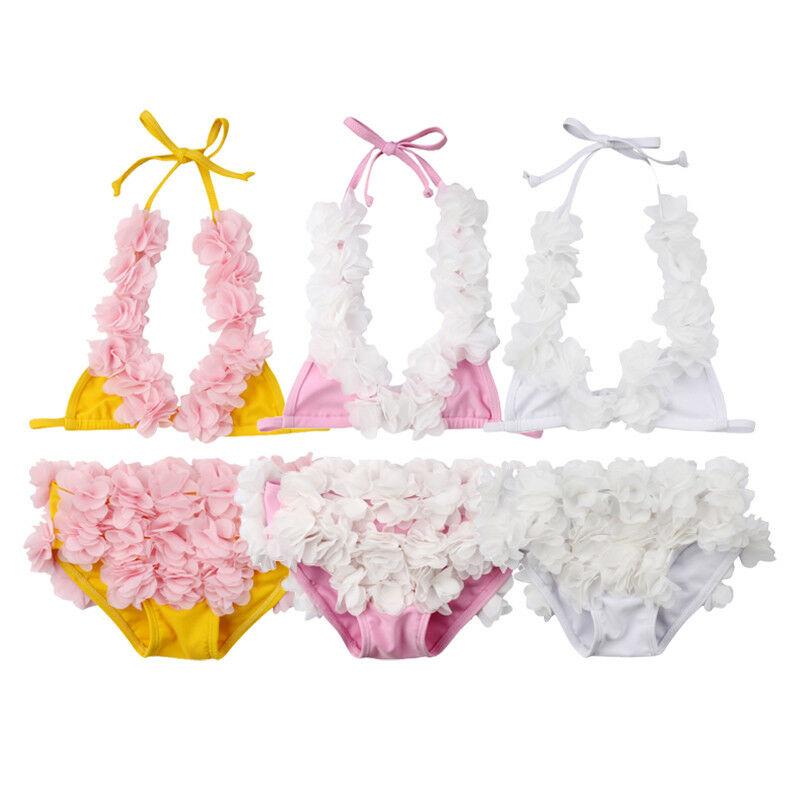 2019 Summer Solid Floral Toddler Kid Baby Girl Flower Bikini Set Swimwear Swimsuit Bathing Cute Fashion Set Suit Clothing