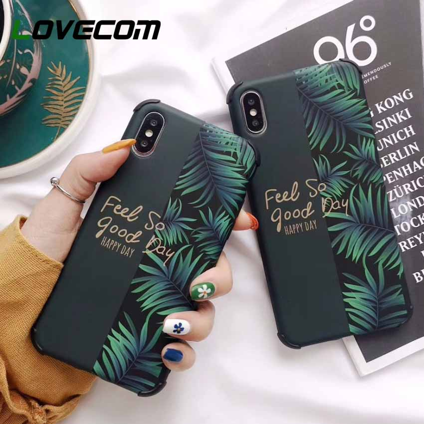 LOVECOM Anti-knock Splicing Phone Case For iPhone XR XS Max 6 6S 7 8 Plus X Soft IMD Banana Leaf Letters Flower Fruit Back Cover