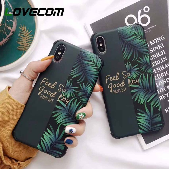 LOVECOM Anti-knock Splicing Phone Cases For iPhone XS Max XR 6 6S 7 8 Plus XS X Soft IMD Banana Leaf Letters Back Cover Case
