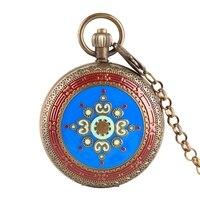 Retro Copper Blue Face Mechanical Pocket Watch Luxury Tourbillon Phases Moon Sun Automatic Winding Vintage Watch for Men Women
