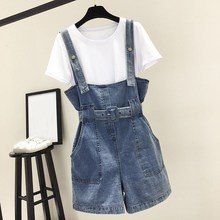 Women Clothing Denim Strap Rompers Playsuits Shorts Loose Casual Overalls Pockets Female