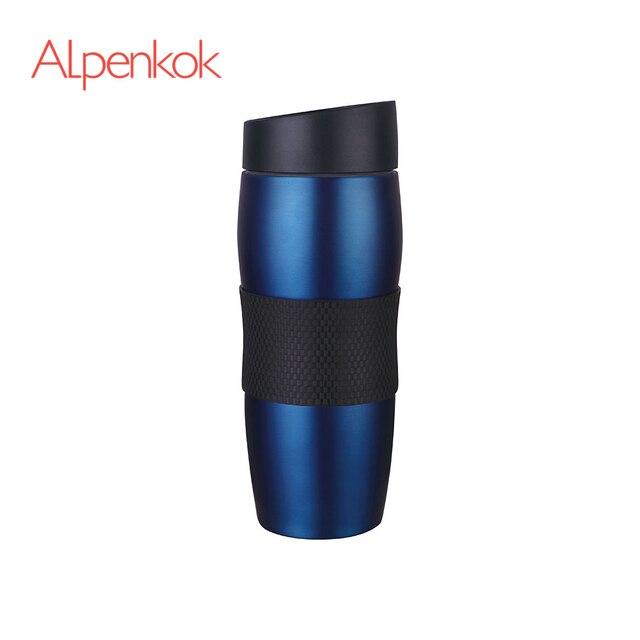 Термокружка  вакуумная Alpenkok Синяя 400мл, Противоскользящее покрытие дна, Кнопка открывания/закрывания клапана, Сохраняет температуру в течение 6 часов, Пластиковая крышка на резьбе