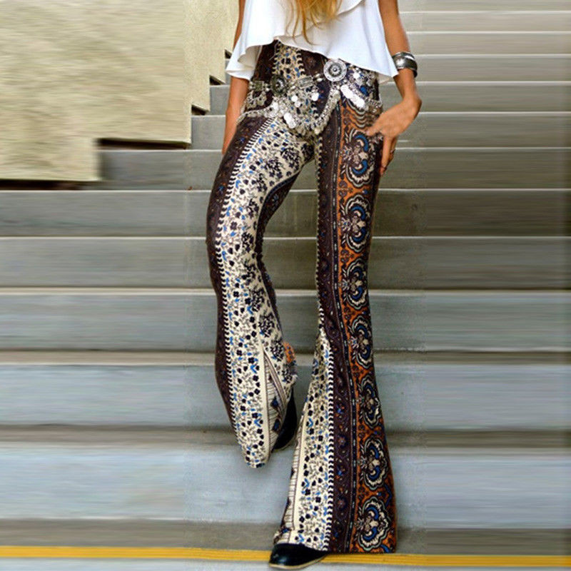 Women's Boho Printing Flared Trousers Hippie High Waist Printed Wide Leg Long Flared Bell Bottom Pants Soft Polyester Lady Pants