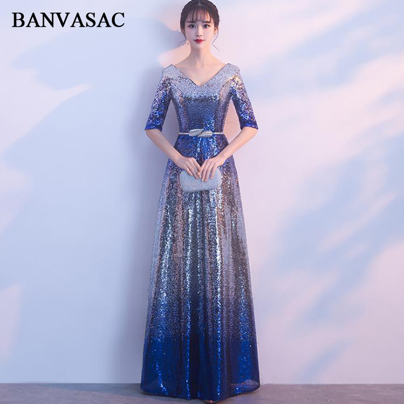 BANVASAC Deep V Neck Metal Leaf Sash A Line Long Evening Dresses Sequined Half Sleeve Backless Party Prom Gowns
