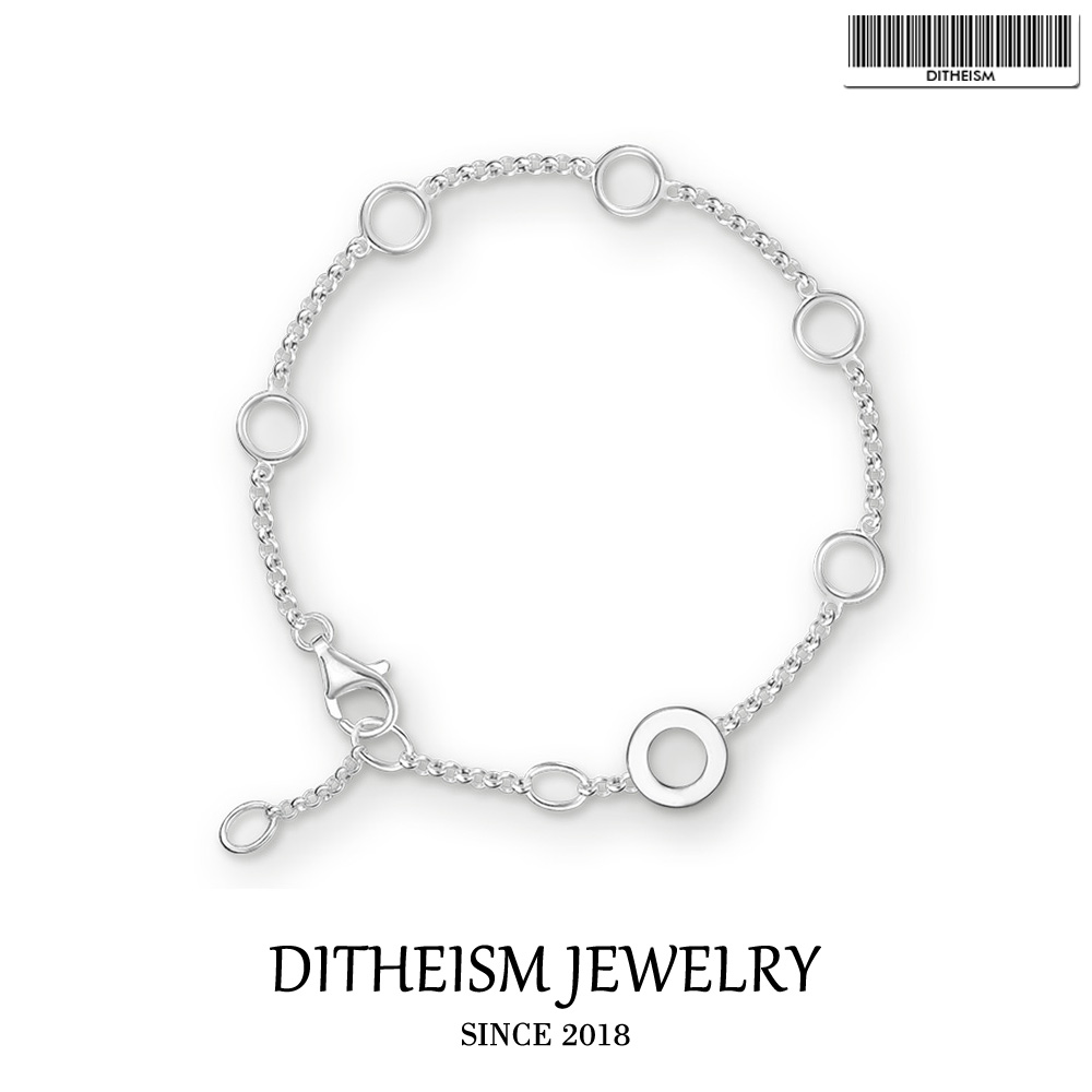 Link Chain Charm Bracelets Round With Eyelet Charm Carrier 925 Sterling Silver Jewelry Trendy Women