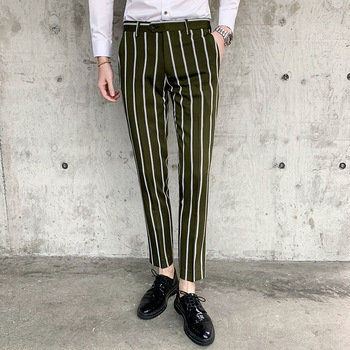 2019 Stripe Pants Men Brand Designer Slim Fit British Style Mens Suit Pant Gentlemen Casual Dress Trousers Spring Men Clothing Men's Suit Pants