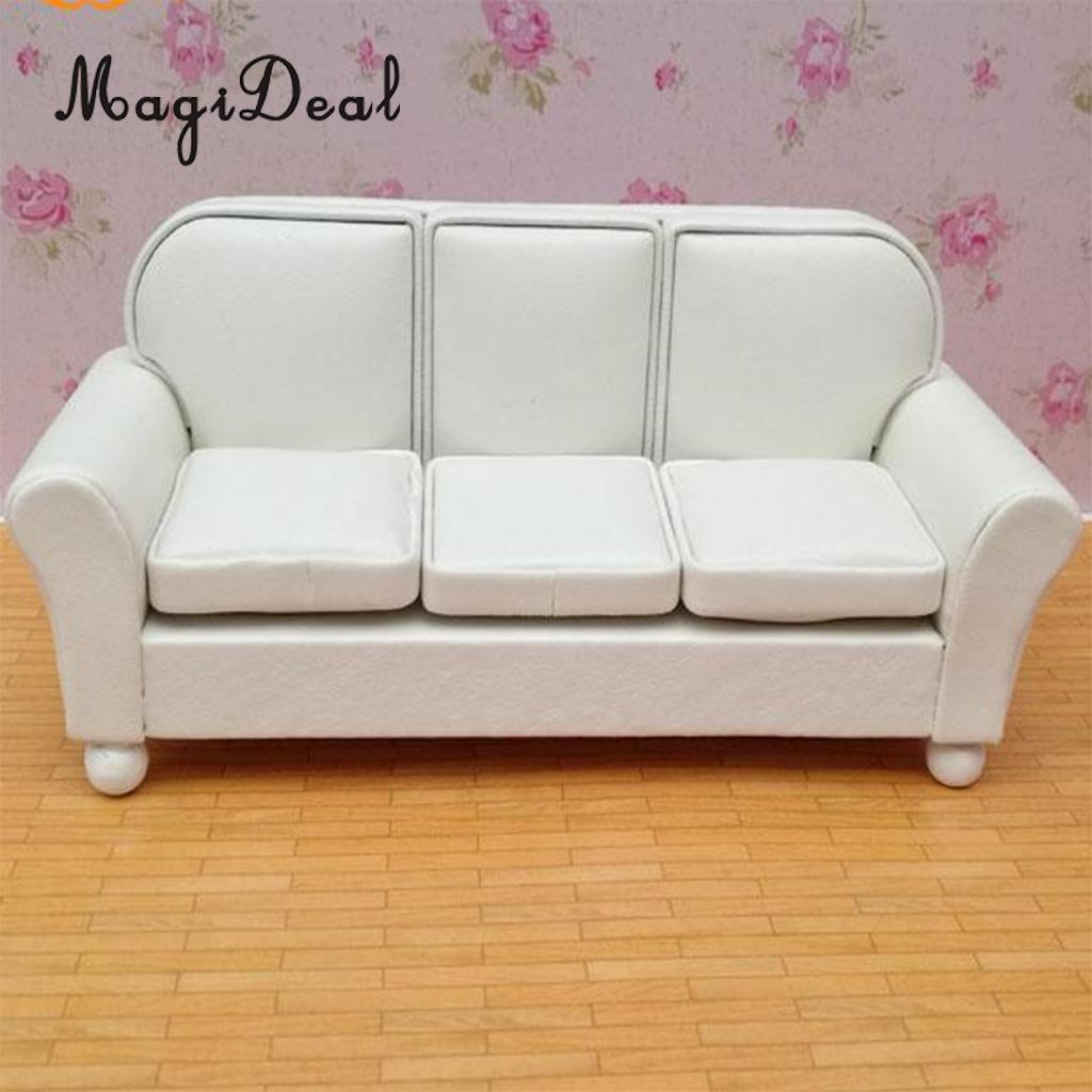 1/12 Dollhouse Furniture Leather Sofa Couch Chair Miniature Model Sitting Room Accessories Furniture Decoration White Discounts Price