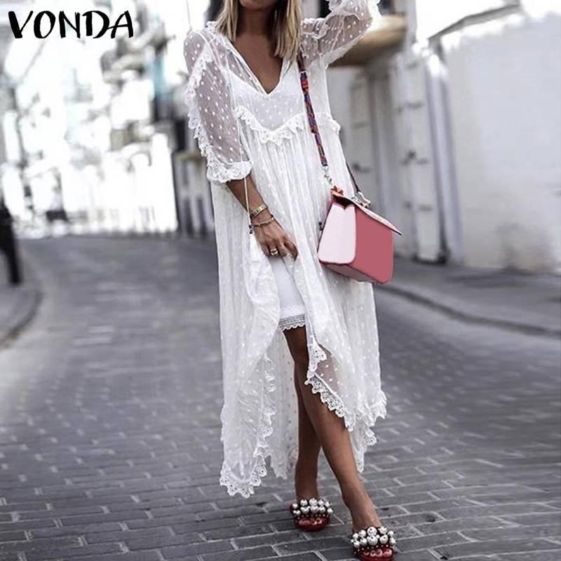 VONDA Bohemian Lace Dress 2019 Summer Women Sexy V-Neck Polka Dot Hollow Asymmetrical Hem Dresses Plus Size Vestidos