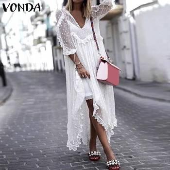 VONDA Bohemian Lace Dress 2020 Summer Women Sexy V-Neck Polka Dot Hollow Asymmetrical Hem Dresses Plus Size Vestidos polka dot asymmetrical tankini set