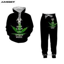 Jumeast 3D Print Green Leaves Women/Men Hoodie Sweatshirt Fashion Weed Pattern Vest Long Pans Set Casual Short Couple Suits
