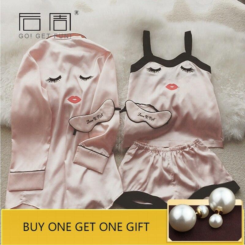 Pajama     Sets   4 Pieces   Pajamas   for Women Sleepwear Female Satin Pijama 2019 New Fashion Pyjamas Women Silk Elegant Sleep & Lounge