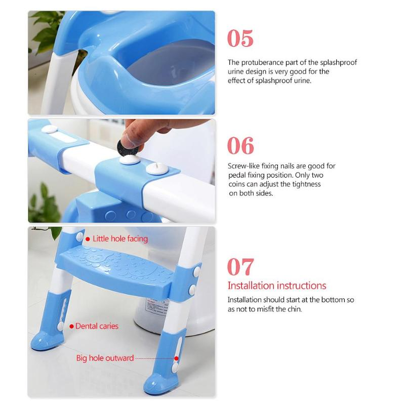 Folding Baby Potty Training Seat with Adjustable Ladder Baby Toilet Training Potties Children Safety Handle Bowl Urinal Potties | Happy Baby Mama