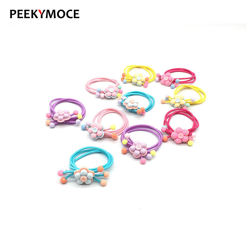 4pcs Hair Scrunchies Cartoon Floral Candy colors Rubber Bands Sweet girls Ring kids Tie Gum Ponytail Holder Accessories   Headwear