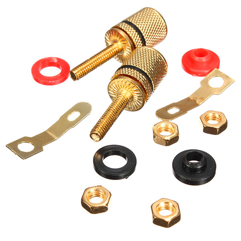 CLAITE Wholesale Gold Plated Amplifier Speaker Terminal Binding Post Banana Plug Socket Connector For Audio Speaker