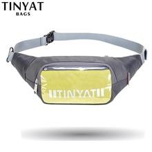 TINYAT Men Waist bag Pack Waterproof Travel Bag for belt Casual Light Belt Phone Money Canvas waist grey