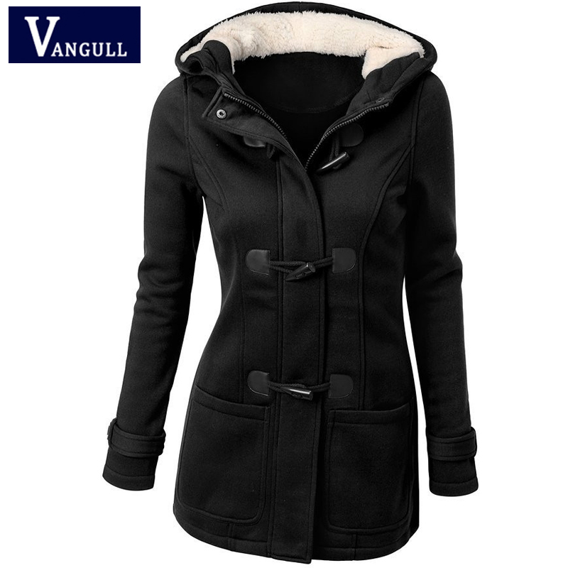 Spring & Autumn Fashion Women's Clothing Silm Hooded Women   Trench   Solid Horn Buckle Button Coats Long Sleeve Thick Outerwear