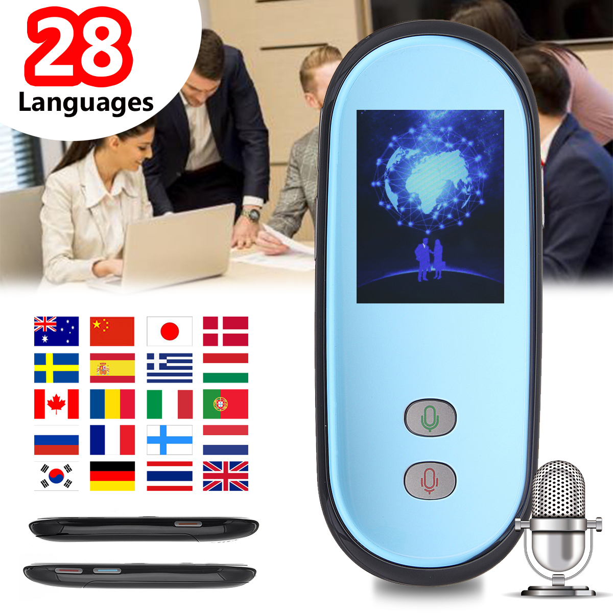 LEORY 2.4'' Smart Voice Translator Real Time 28 Multi Languages Portable Translation Traductor Travel Business Meeting Learning