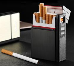 Tworzyw sztucznych i aluminium papierosy Box Case z zapalniczki biznesmenów wymienny zapalniczka ładowana na USB może pomieścić 20 papierosy